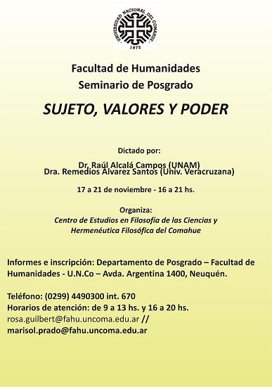 afiche Seminario de Posgrado SUJETO VALORES Y PODER
