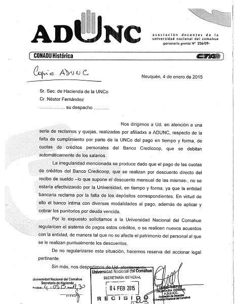 Nota ADUNC a Sec. Hacienda 04.02.2015