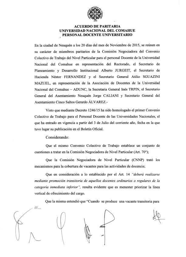 2015-11-18 Acta Paritaria Docente ADUNC Art. 14 cobertura de cargos Decreto 1246-15_001