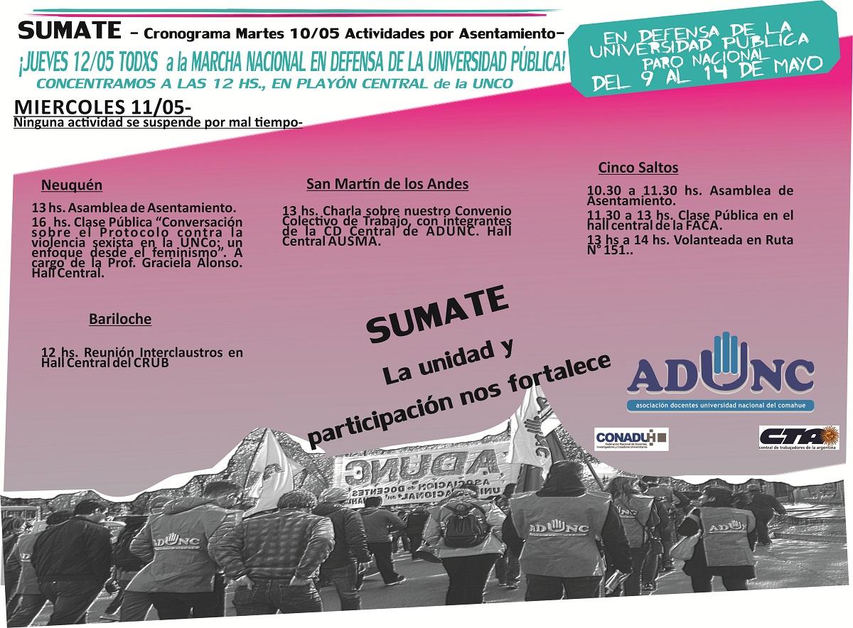 CRONOGRAMA DE ACTIVIDADES PARO DEL 9 AL 14 DE MAYO miercoles 11 web