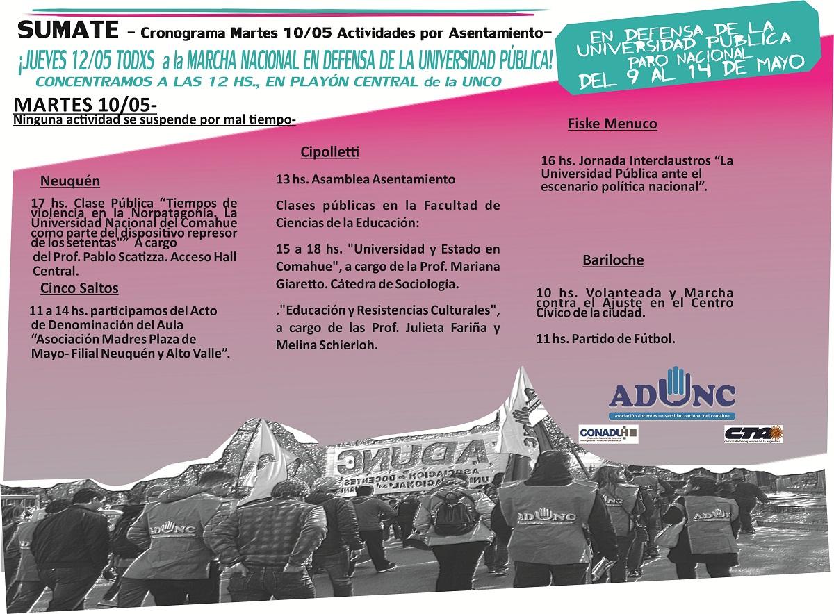 CRONOGRAMA DE ACTIVIDADES PARO DEL 9 AL 14 DE MAYO web martes10